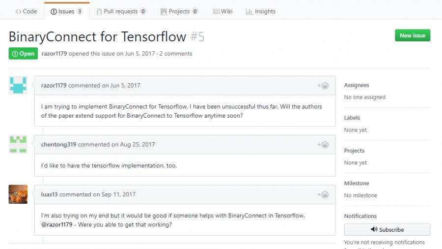 Tensorflow-Implementierung von BinaryConnect