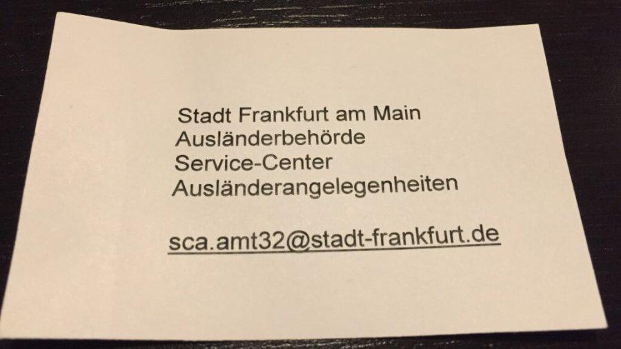 Online-Termin für Niederlassungserlaubnis (Aufenthaltstitel) in Frankfurt