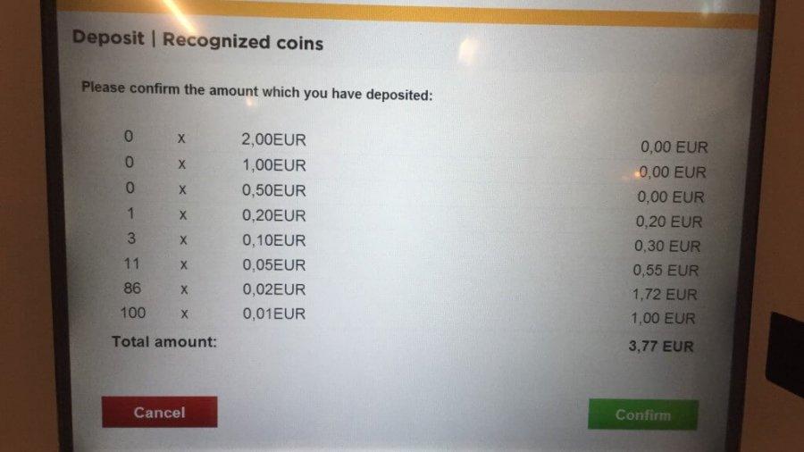 Münzgeld einzahlen bei Commerzbank in Frankfurt