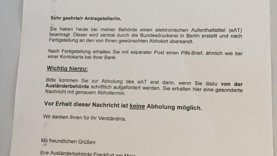 Termin für Niederlassungserlaubnis (Aufenthaltstitel) in Frankfurt wurde wahrgenommen