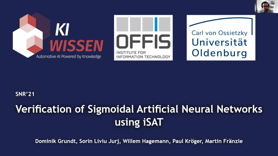 Verification of Sigmoidal Artificial Neural Networks using iSAT